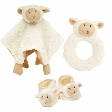 Baby cadeau setje rammelaar, slofjes tuttel doekje lammy lammetje kopen