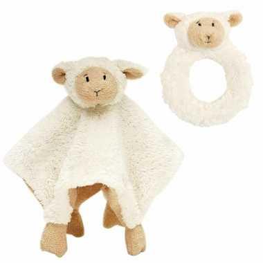Baby cadeau setje rammelaar tuttel doekje lammy lammetje kopen
