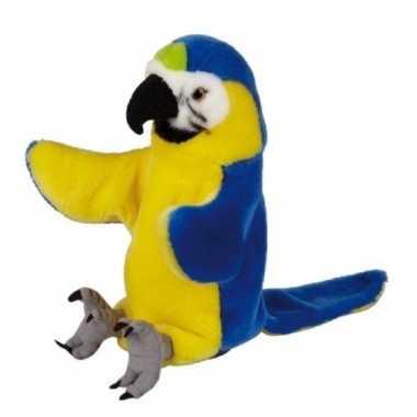 Blauw/gele ara/papegaaien handpop pluche cm kopen
