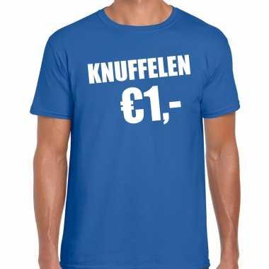 Blauw knuffelen euro fun shirtje feest t shirt heren kopen