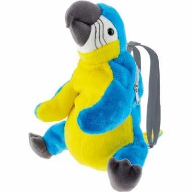 Blauwe ara papegaai vogel rugzak/rugtas knuffels knuffeldieren kopen