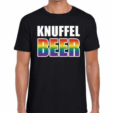 Gay pride knuffel beer tekst/fun shirt zwart heren kopen