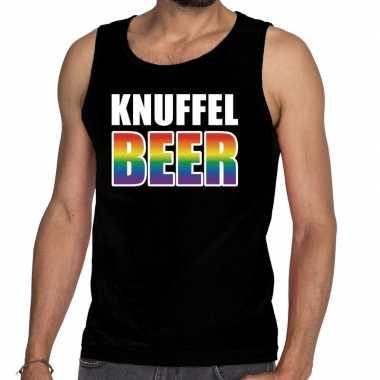 Gaypride knuffelbeer tekst/fun tanktop zwart heren kopen