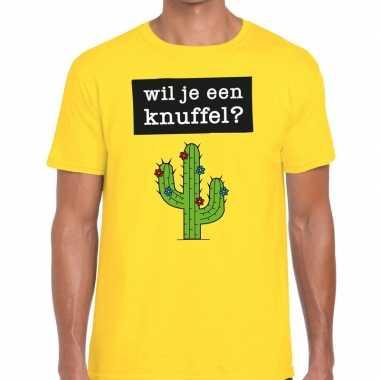 Geel wil je een knuffel fun t shirt heren kopen