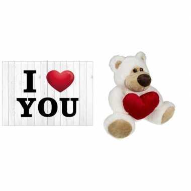 I love you wenskaart/ansichtkaart knuffelbeer / teddybear kopen