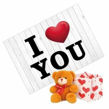 I love you wenskaart/valentijnskaart knuffelbeer rood sjaaltje kopen