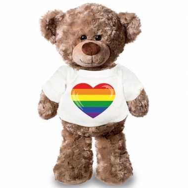 Knuffelbeer lhbti hart vlag t shirt kopen