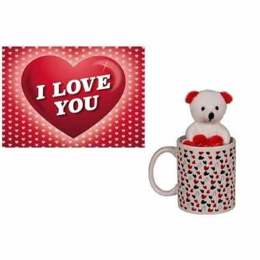 Koffiemok wit knuffelbeertje i love you valentijnskaart kopen