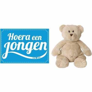 Kraamcadeau beren knuffel hoera een jongen wenskaart /ansichtkaart ko