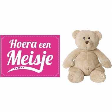 Kraamcadeau beren knuffel hoera een meisje wenskaart /ansichtkaart ko