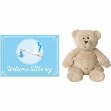 Kraamcadeau beren knuffel welcome little boy wenskaart /ansichtkaart