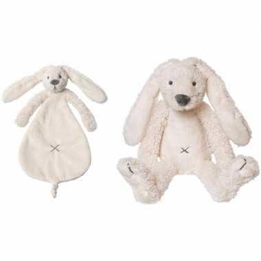 Kraamcadeau rabbit ritchie ivoor wit happy horse knuffeldoekje knuffe