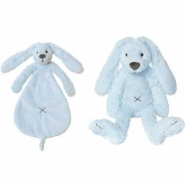 Kraamcadeau rabbit ritchie licht blauw happy horse knuffeldoekje knuf
