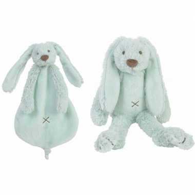 Kraamcadeau rabbit ritchie mint happy horse knuffeldoekje knuffel kon