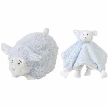 Kraamcadeau schaapjes/lammetjes ivoor blauw happy horse knuffeldoekje