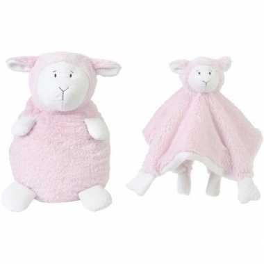 Kraamcadeau schaapjes/lammetjes ivoor roze happy horse knuffeldoekje