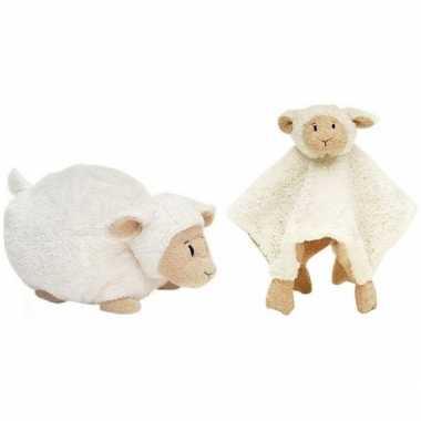 Kraamcadeau schaapjes/lammetjes ivoor wit happy horse knuffeldoekje l