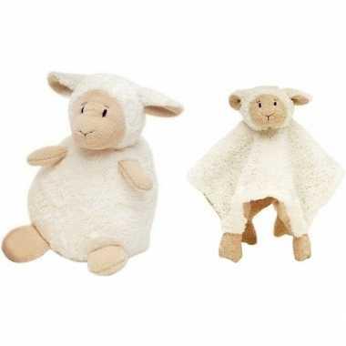 Kraamcadeau schaapjes/lammetjes ivoor wit happy horse knuffeldoekje z