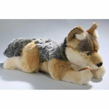 Liggende wolven knuffels goudwolf kopen