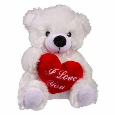 Moederdag cadeau witte knuffelbeer hartje kopen