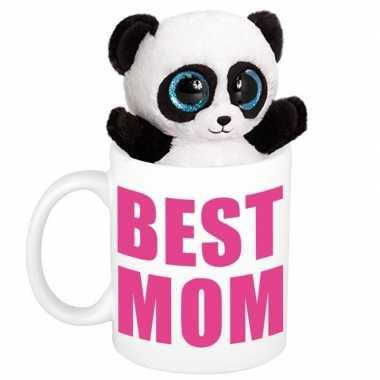 Moederdag cadeautje best mom mok knuffel pandabeer kopen