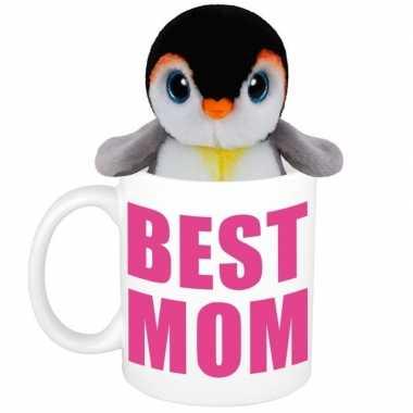 Moederdag cadeautje best mom mok knuffel pinguin kopen