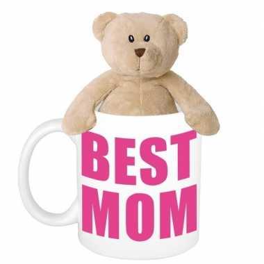 Moederdag cadeautje best mom mok knuffel teddybeer kopen