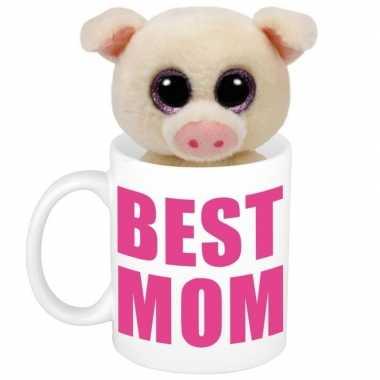 Moederdag cadeautje best mom mok knuffel varken / big kopen