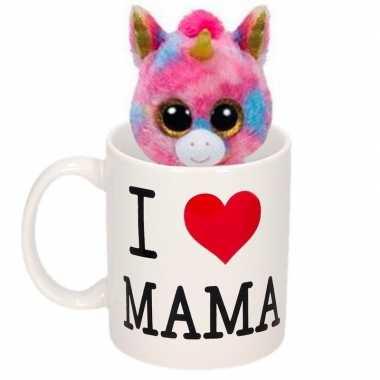 Moederdag cadeautje i love mama mok knuffel eenhoorn kopen