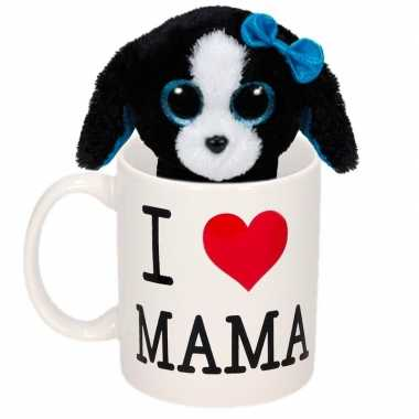 Moederdag cadeautje i love mama mok knuffel hondje kopen