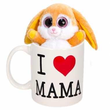 Moederdag cadeautje i love mama mok knuffel konijntje kopen