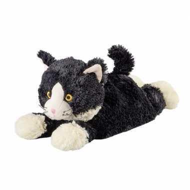 Opwarmbare knuffel liggende kat/poes zwart kopen
