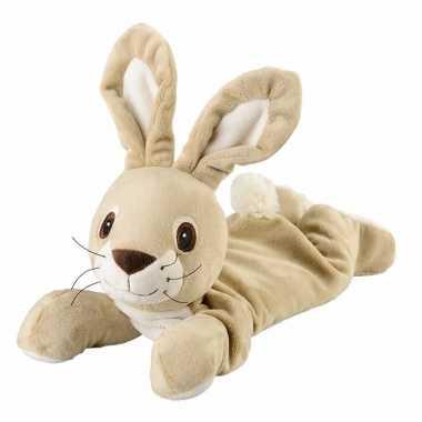 Opwarmbare knuffel liggende konijn beige kopen