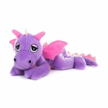 Opwarmbare knuffel paarse draak kopen