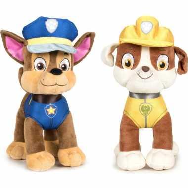 Paw patrol knuffels set karakters chase rubble kopen