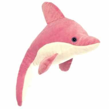 Pluche dolfijn knuffeldier roze/wit kopen