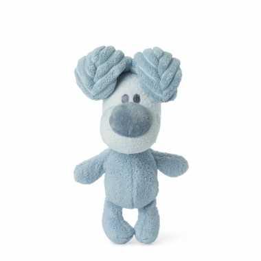 Pluche honden knuffel woezel blauw kopen