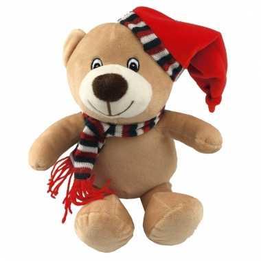 Pluche kerst knuffeltje beer kopen