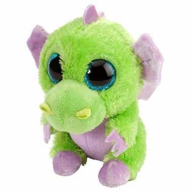 Pluche knuffel knuffeldier draakje groen/paars kopen