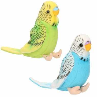 Pluche knuffel parkieten setje vogels blauw groen kopen