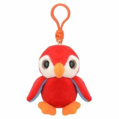 Pluche knuffel pinguin sleutelhanger rood kopen