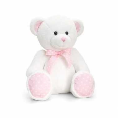 Pluche knuffelbeer roze baby girl kopen
