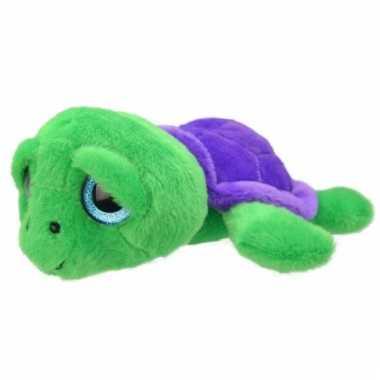 Pluche schildpad knuffeldier groen/paars kopen