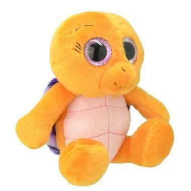Pluche schildpad knuffeldier oranje/paars kopen