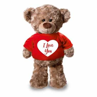 Pluche teddybeer / beren knuffel i love you t shirt kopen