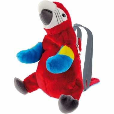 Rode ara papegaai vogel rugzak/rugtas knuffels knuffeldieren kopen