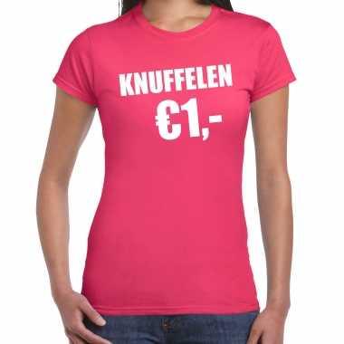 Roze knuffelen euro fun shirtje feest t shirt dames kopen