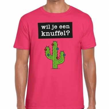 Roze wil je een knuffel fun t shirt heren kopen