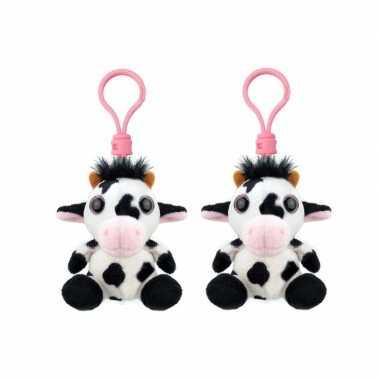 Set stuks pluche knuffel koe sleutelhanger kopen