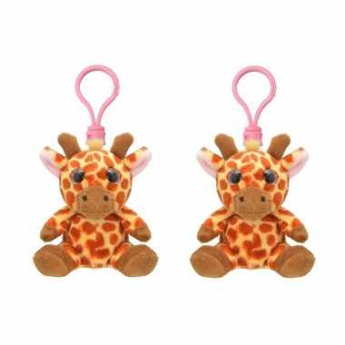 Set stuks pluche mini knuffel giraf sleutelhanger kopen